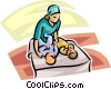 woman with two babies Vector Clipart illustration
