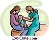 Vector Clip Art image  of a doctor examining a baby