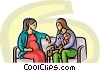 pregnant woman talking with a new mother Vector Clip Art picture