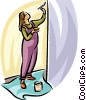 Vector Clip Art graphic  of a pregnant woman painting the
