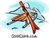 sleigh and skis Vector Clipart graphic