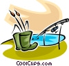 Vector Clipart illustration  of a rubber boots and a fishing rod