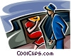 Vector Clip Art image  of a woman getting out of a limo