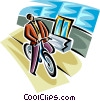 Vector Clipart illustration  of a businessman on a bicycle
