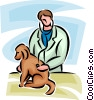 veterinarian looking at a dog Vector Clipart illustration