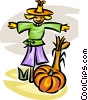 Vector Clipart illustration  of a scarecrow and pumpkin