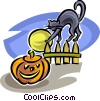 Vector Clip Art image  of a Jack-o-lantern and black cat
