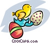 Easter egg and chick Vector Clipart graphic