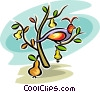Vector Clipart image  of a partridge in a pear tree