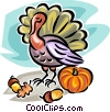 Pumpkin, acorn and turkey Vector Clip Art image