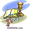 Bible, Cross and Chalice Vector Clipart graphic