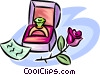 Vector Clipart image  of a ring in a box with a flower