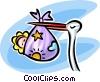 Vector Clip Art graphic  of a stork with a baby