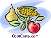 pear, apple and a cob of corn Vector Clipart image