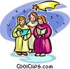 Vector Clip Art image  of a Christmas carolers