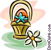 Easter egg in a basket Vector Clip Art image
