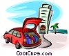 Vector Clip Art image  of a car full of luggage at a hotel