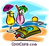 travel guide and cocktails on the beach Vector Clipart illustration