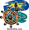 Vector Clip Art graphic  of a lighthouse and captain's wheel