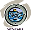Vector Clipart graphic  of a looking at the ocean through a