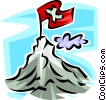 Vector Clipart illustration  of a flag on the summit on a