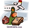 Vector Clip Art graphic  of a luggage being unloaded from a