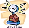 Vector Clip Art image  of a luggage on a scale