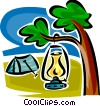 lantern hanging in a tree beside a tent Vector Clipart illustration