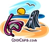 Snorkel, mask and diving fins Vector Clip Art graphic