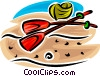 Vector Clip Art graphic  of a rowboat and paddles