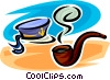 Vector Clipart image  of a sailor's hat and pipe