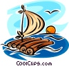 Vector Clipart graphic  of a raft