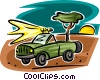 Vector Clip Art graphic  of a truck with a search light on