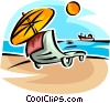 Vector Clip Art image  of a chair on the beach with an