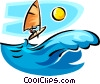 person on a sailboard Vector Clip Art graphic
