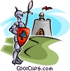 knight in armor outside a castle Vector Clipart illustration