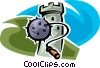 Vector Clip Art image  of a mace and a watchtower