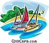 sailboats Vector Clipart graphic