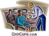 Vector Clipart graphic  of a Steward serving coffee on a