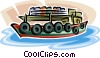 Vector Clip Art graphic  of a cargo boat