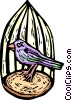 bird in a birdcage Vector Clipart illustration