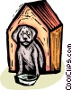 Vector Clip Art image  of a dog in a doghouse