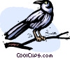 Vector Clip Art image  of a bird sitting on a branch