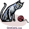 cat and a ball of yarn Vector Clip Art image