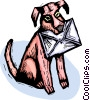 Vector Clip Art picture  of a dog with an envelope