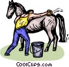 man brushing a horse Vector Clip Art graphic