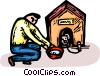 Vector Clip Art image  of a man with a dog and a doghouse