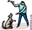 man with a dog and a bone Vector Clip Art picture