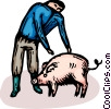 Vector Clip Art graphic  of a farmer and a pig