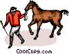 Vector Clipart image  of a equestrian rider with a horse